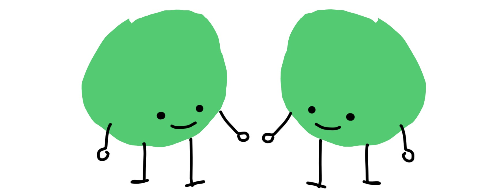 Two dots with arms and legs, looking at each other like a mirror image