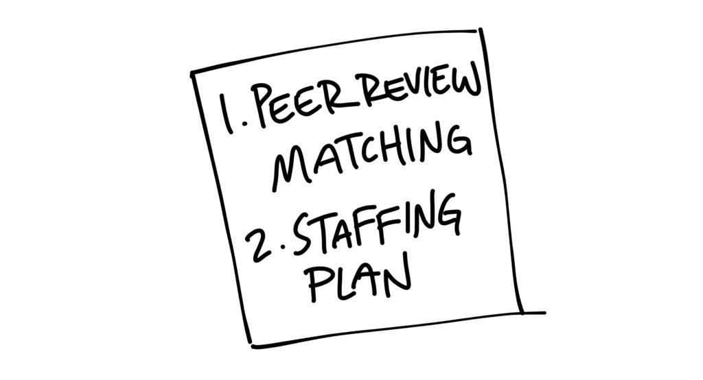 Drawing of a post-it note with two items on it: 1. Peer review matching, 2. Staffing plan